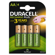 Duracell Rechargable Plus Aa Battery 1300mah 4s (DURHR6B4-1300SC)